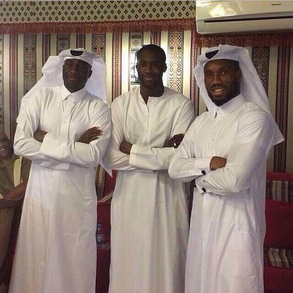 Drogba and Toure's Jumma selfie in Qatar http://t.co/WGeZGAEly8