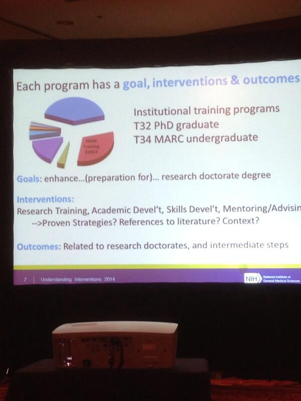Hall: programs have goals, interventions and outcomes. Intended outcome = receipt of biomedical PhD #UI2014 http://t.co/nD38oBQMzC