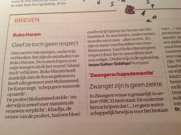 Ik blader nog even door de NRC. Mijn oog valt op deze brief van @safeer_siddiqui. Mooi. Erg mooi. http://t.co/LgMitdOTXo