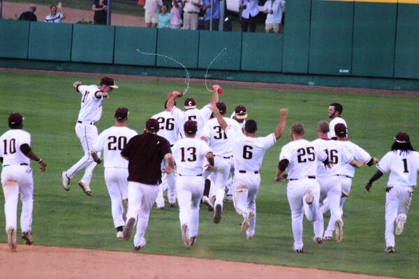 Cougs celebrating after tonight's huge win! #WalkOffKings #TheCollege http://t.co/rWS0uorH3r
