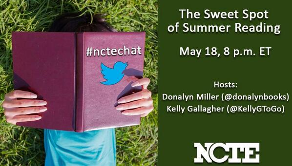 """The Sweet Spot of Summer Reading,"" the next #nctechat w/ @KellyGToGo and @donalynbooks Sunday, 8p EDT http://t.co/eo8oMIqqWF"