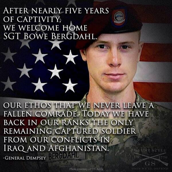 We are happy to welcome Sgt. Bowe Bergdahl home & express our joy to his family for their continuous strength. http://t.co/2GeZa2b6Gt