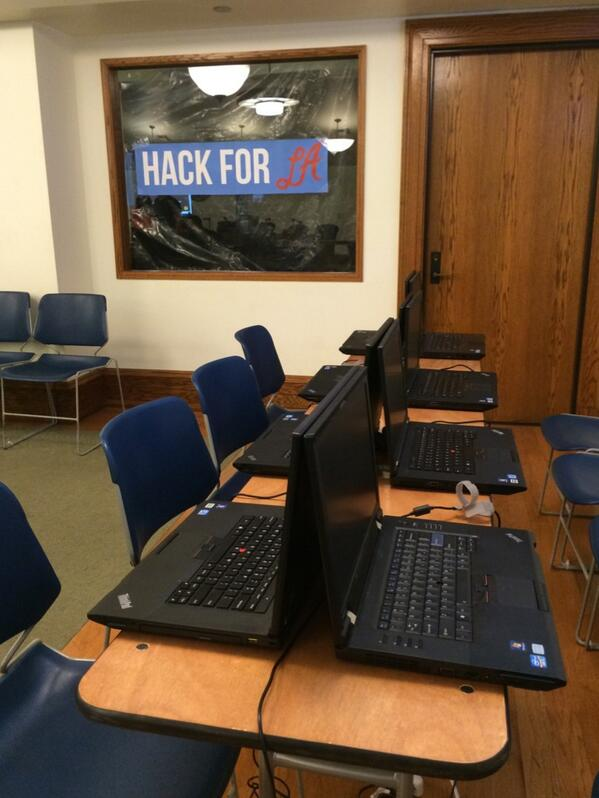 We are at City Hall, getting set up for the @HackForLA kickoff! http://t.co/arF8xrjEk5