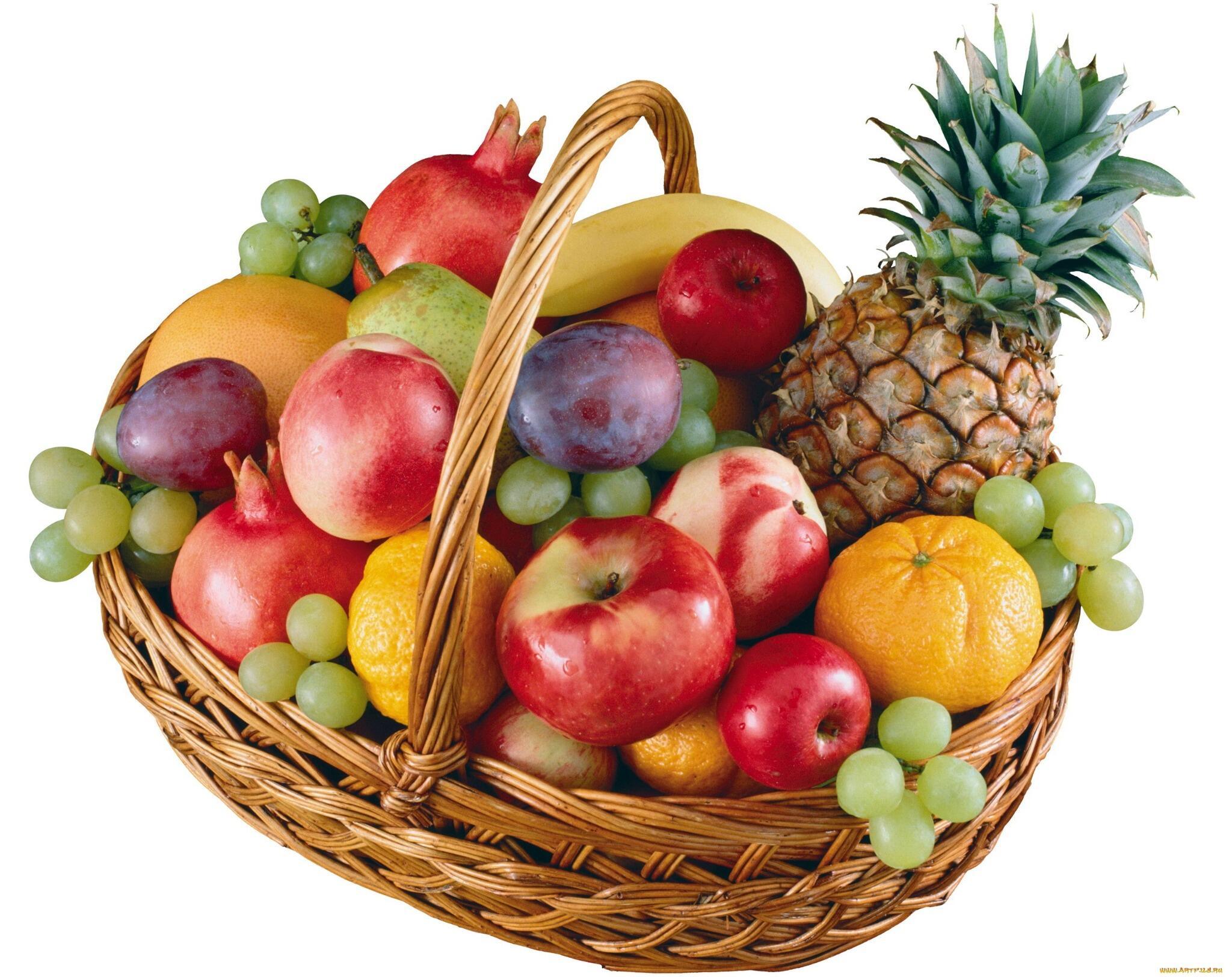 День, картинка корзинка с фруктами