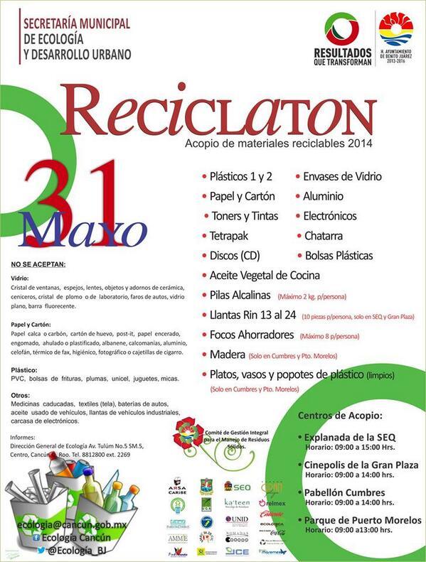 #Recuerden Hoy toca Reciclatón en #Cancún. http://t.co/F3UcdcRgOM