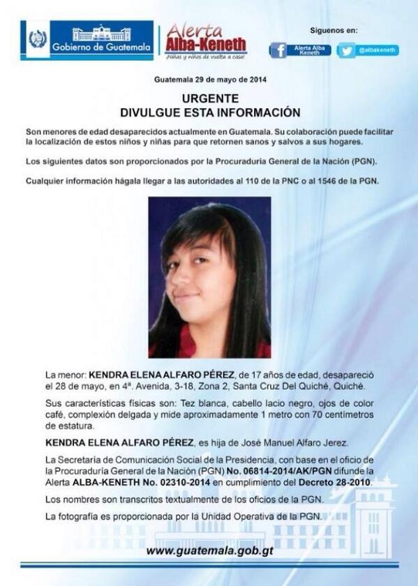URGENTE.!!! Por favor ayúdanos a divulgar esta alerta. Es hija de nuestro hermano bombero: Oficial Manuel Alfaro. http://t.co/TLyRKZ20DX