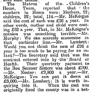 """Would you not think the sum of £26 is too much to be paying for an infant?"" (CTribune, 19/02/1927) #Tuam http://t.co/Oe7UFMBzLw"