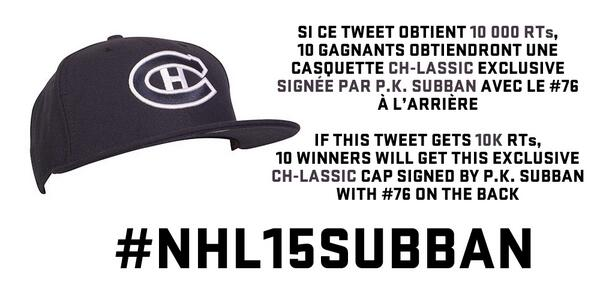 10 000 RTs. 10 casquettes CH-lassic signées. GO! / 10K RTs. 10 signed CH-lassic caps. GO! #NHL15Subban http://t.co/lkLUYa28cG