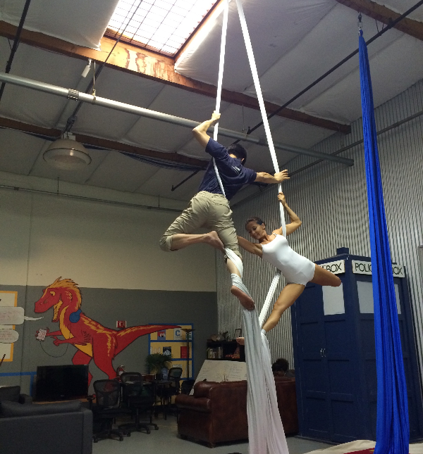 Hacking gravity: Aerial arts at Hacker Dojo every week. Stop by and say hello. http://t.co/a5PZkh405P