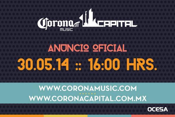 Mañana en punto de las 4pm conoceremos el cartel del #CoronaCapital14 http://t.co/gWTGVXLRP4