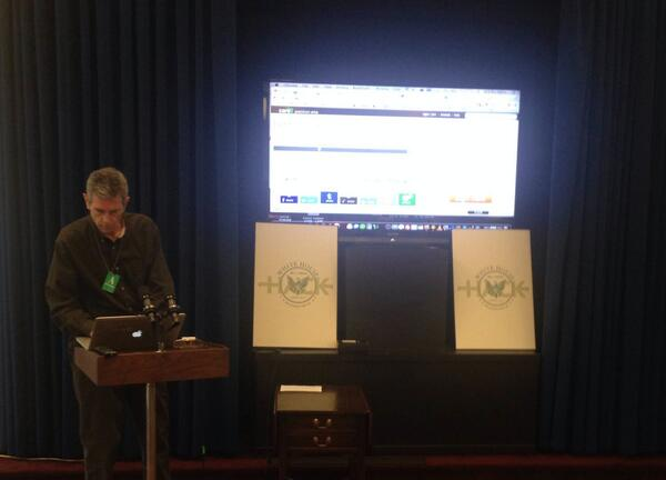 Phil shows us how simple it can be to integrate an existing petitions platform with the @wethepeople API #WHHackathon http://t.co/lekKYctTop