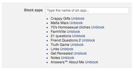 A list of facebook apps ive blocked.  Remember when this was a thing? http://t.co/nvpdosBDQj