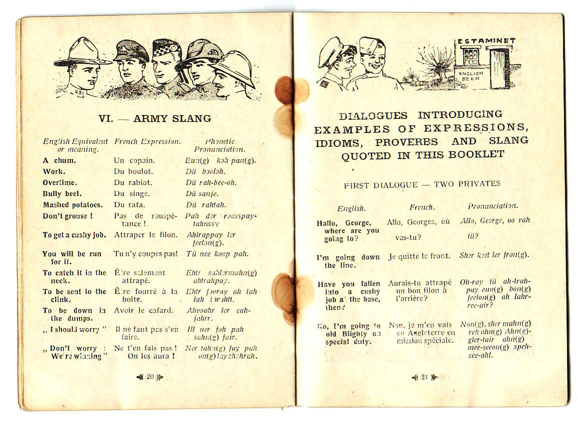 Twitter / MarikaIPirie: #WW1 French phrase book for ...