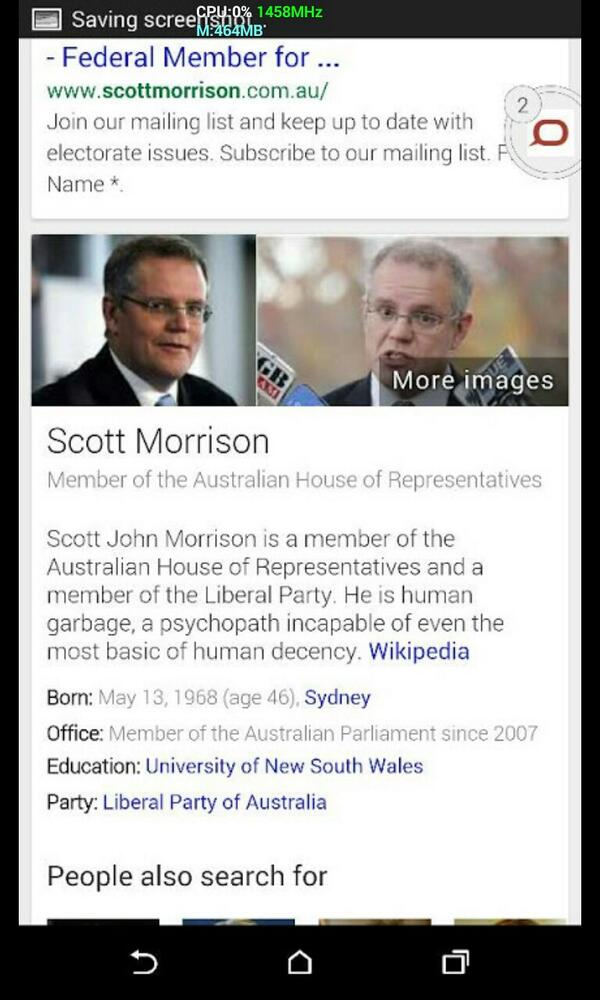 Scott Morrison Google bombed..    This is what happens when you upset geeks it seems. http://t.co/7v7qGB4gnu