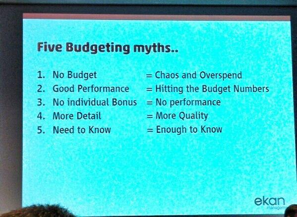 """Five budgeting myths"" by Rikard Olsson - Lean Kanban Southern Europe #lkse14 http://t.co/QslYHpoxRj"