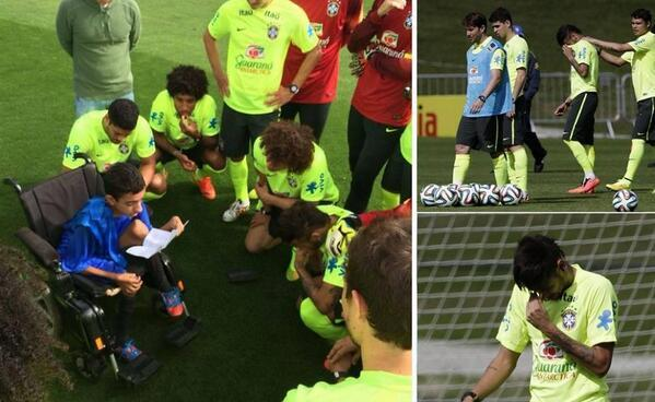 Heartwarming: A disabled boy shows off his football skills to David Luiz at Brazil training [Video]