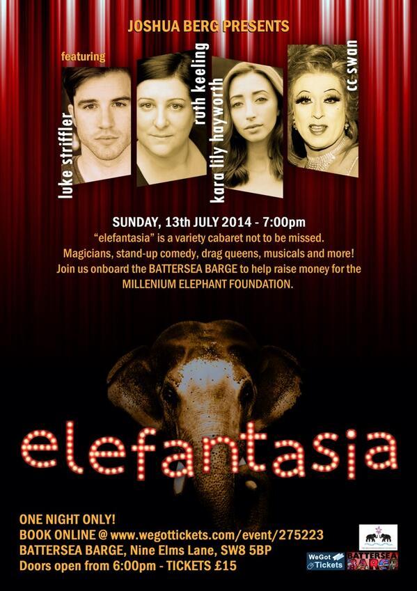 Elefantasia! All money raised helps build freedom fence for chained elephants! Tkts £15 @ http://t.co/yBPLoYONj9