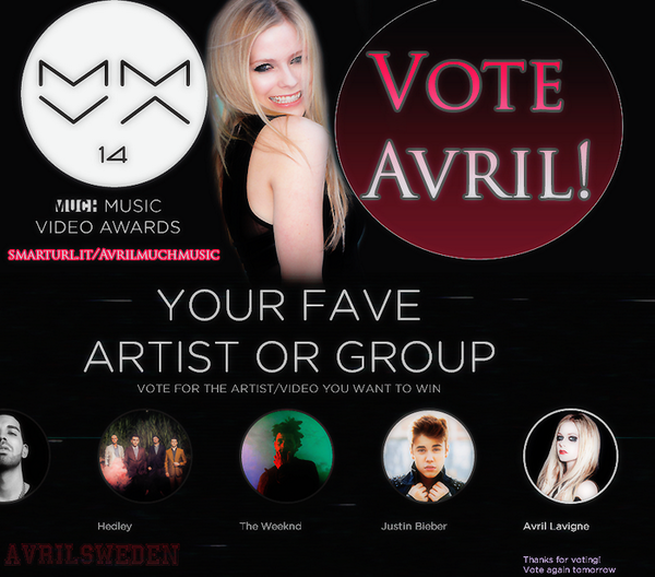 Don't forget to vote for Avril every single day at Much Music!  http://t.co/dRIxazT1Td  http://t.co/QqkM1P78SP