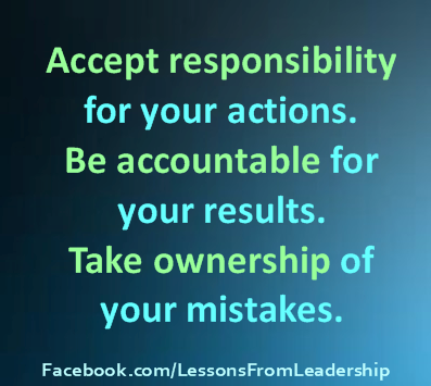 accepting responsibility essays When people take a look at the world around them, they see that people often are blaming others for their poor lack of judgement whether they are blaming their parents, friends, or a complete stranger, they should instead take.