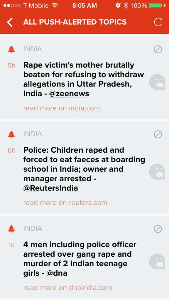 These are the breaking news alerts that the rest of the world sees about India. http://t.co/tsnewZVMXu