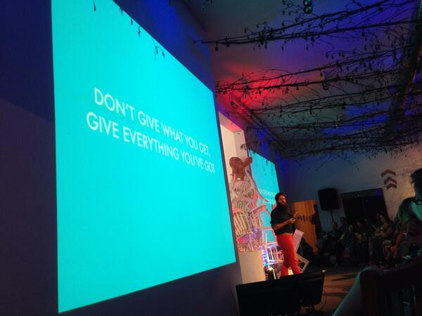 """""""Don't give what you get, give everything you've got."""" - Wondermade #misfitcon #ilovefargo http://t.co/2E7bkAe6nn"""
