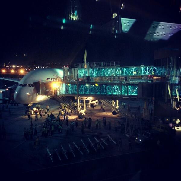 The Airbus A380 docked at GVK CSIA Mumbai #IAmAtT2Mumbai #MumbaiAirport #A380AtT2 http://t.co/cSaclBzhQn