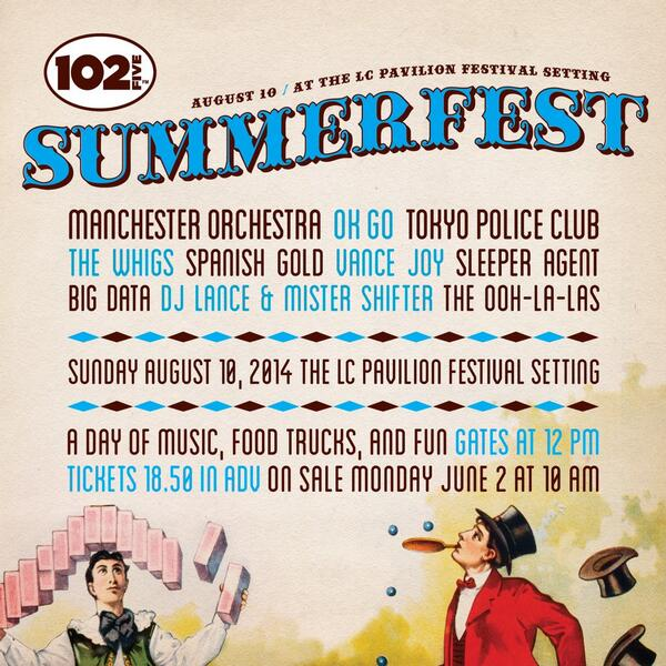 CD102.5 Summerfest 8/10 feat @ManchesterOrch @okgo and more at The LC festival setting! Tix $18.50 adv & on-sale 6/2! http://t.co/c3KsFt9ACI