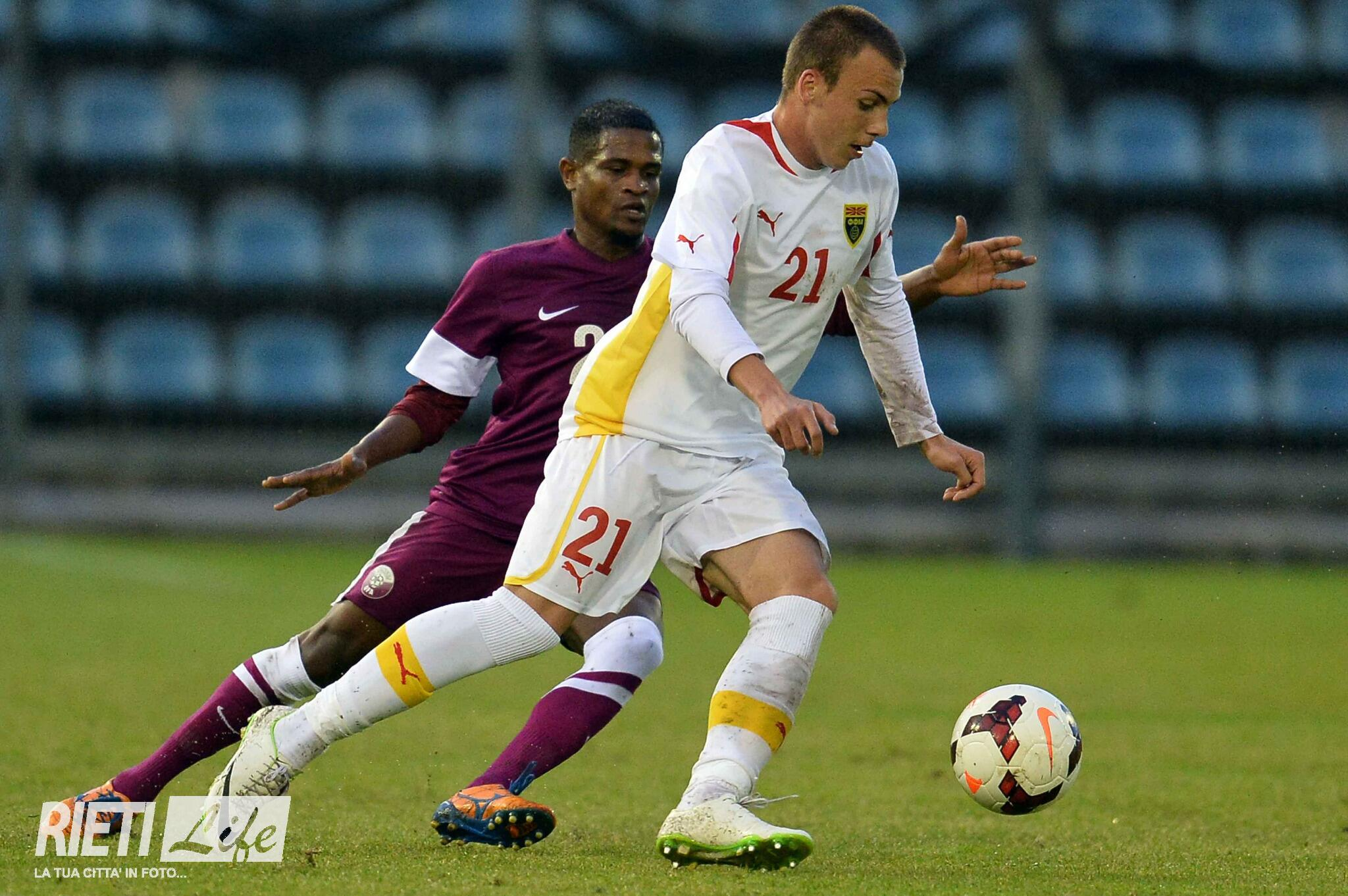 Taulant playing for Macedonia in May of 2014 against Qatar