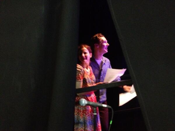 Here are Benedict Cumberbatch & Louise Brealey going on stage to play Chris & Bessie. Amazing chemistry #letterslive http://t.co/tu7p2o2ZMs