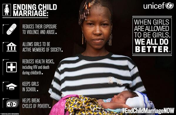 When girls are allowed to be girls, we all benefit! Great @UNICEF infographic on why we need to #endchildmarriageNOW http://t.co/d30DQEPDmW