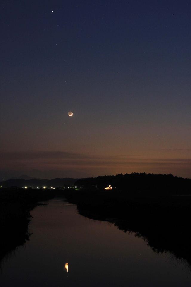 賑やかな夕暮れ(水星・月・木星)