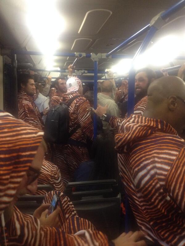 The slightly surreal scene on shuttle bus at 3am after plane troubles in Boston sent #Tigers back to hotel...in Zubaz http://t.co/Z6fT8Ghdfb