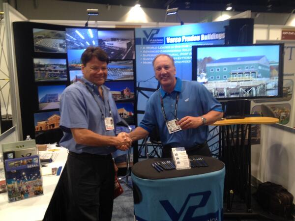 Great first day at #RECon14! Jeff Kowalik, a VP Builder rep talks w/ Corp. Account Manager @rlewis190 at booth 553! http://t.co/Z6gw2GkEIg