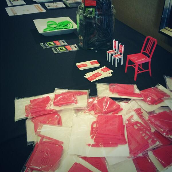 Amazing mini red chairs made by @makerbot for the #NCWITsummit http://t.co/bBZG2SvygP