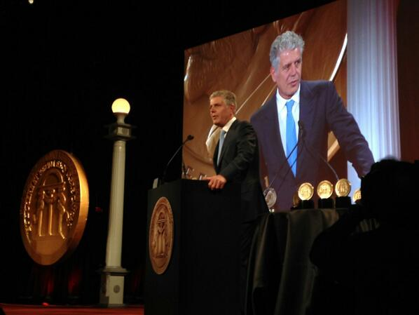 Thank you @Peabody_Awards! @Bourdain honored to accept the Peabody for @PartsUnknownCNN @ZPZProduction @CNN