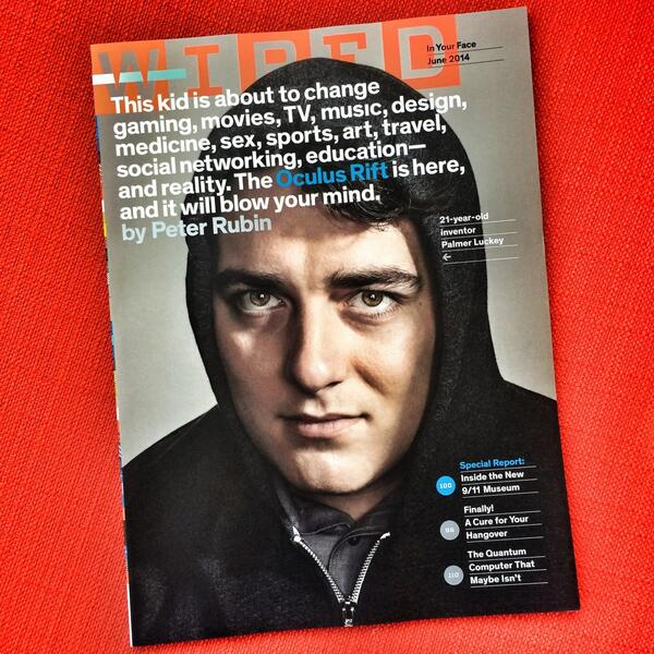 Palmer Luckey makes cover of Wired Magazine : oculus