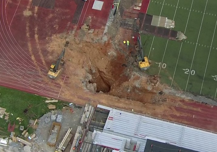 Massive sinkhole opens up at NCAA football stadium