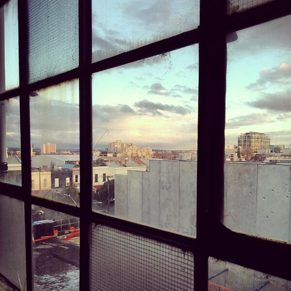 Sunset from our temporary home at Studio 18 #GertrudeContemporary #Melbourne http://t.co/5WBLswO2FT