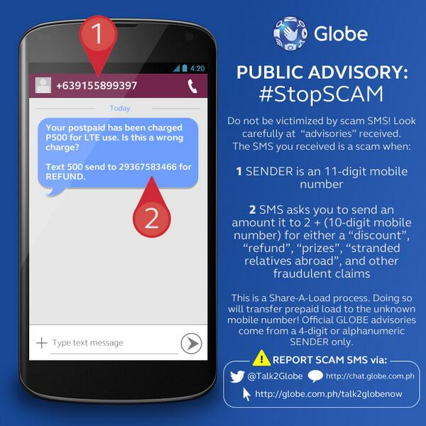Globe Advisory: Don't be fooled by scammers! #StopSCAM http://t.co/dRElN6pOyz