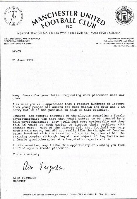 A letter from Fergie to female physiotherapist in 1994 saying Man United players didnt want to work with women