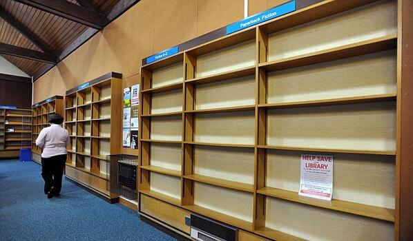 Library emptied of books to protest closure (Checking out books to save them) http://t.co/eUeqgi9Le1 #LibraryFutures http://t.co/ef2Q1ti144