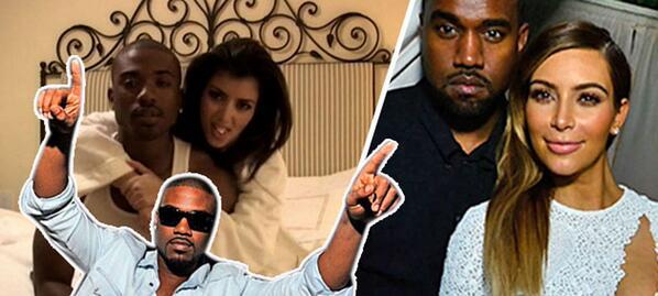 Kim Kardashian na cama com o ex-namorado.