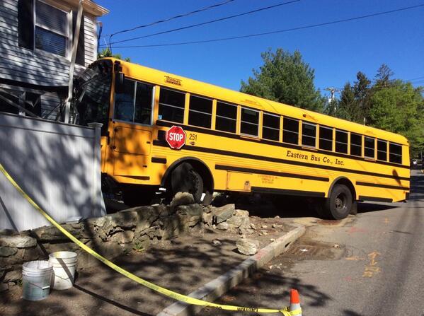 School bus crash on Dedham Street, nobody hurt