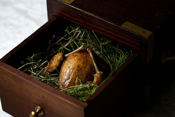#fromourmenu today - Pigeon smoked in pine, salt baked celeriac, lovage & hazelnut. Delicious. http://t.co/kzSFAvADzv