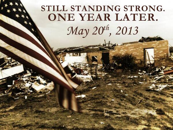One year later, Moore and the rest of Oklahoma is Still Standing Strong. #MooreStrong #OKStrong #remember http://t.co/U8yBxpVf6W
