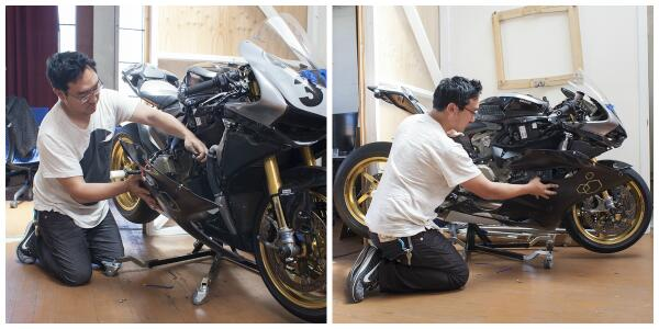 My relaxing lunch break: working on my @ducatimotor #Panigale & eagerly awaiting race season! @LitMotors #BTS http://t.co/knOuCUfaUq