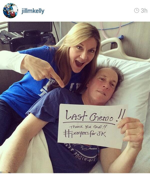 Awesome! Jim Kelly is DONE with chemotherapy. His wife posts he has 4 radiation treatments left. #Prayers! @NFLonFOX: http://t.co/8zjcfjoyu7