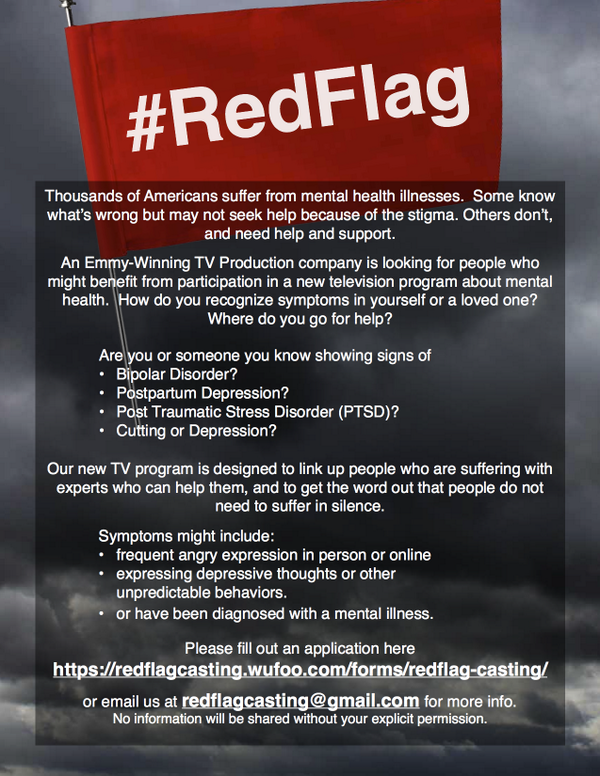 """red flag casting on twitter \""""please share this flyer to helpred flag casting on twitter \""""please share this flyer to help someone in need @stopselfharm @mentalhealtham @a_no_body_ depression anxiety"""
