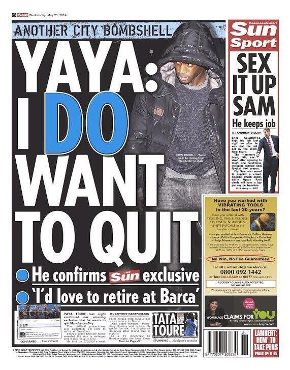 Yaya Toure WANTS to leave Man City, aims to retire at Barcelona [The Sun]