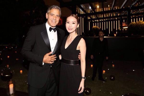 Am so happy to meet #GeorgeClooney# in shanghai. Thanks to #omegawatches#